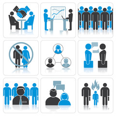 Human Resources and Management Icon Set.