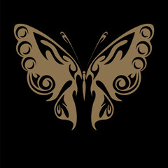 Perfect retro gold floral butterfly isolated on beautiful black