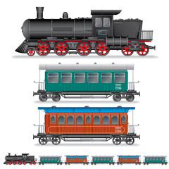 Illustration of Retro Steam Train with Coach Wagon