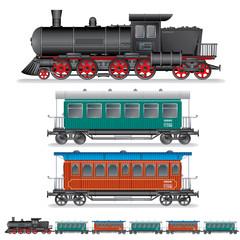 Illustration of Retro Steam Train with Coach Wagon