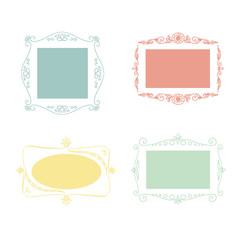 Set of vector doodle frames.