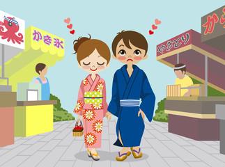 Yukata couple in Japanese  summer festival