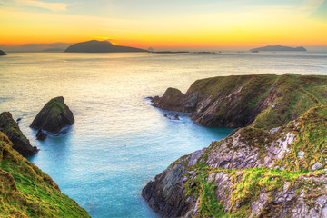 Wall Mural - Sunset over Dunquin bay on Dingle Peninsula, Co.Kerry, Ireland