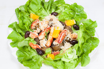 Seafood salad. Viewed from above