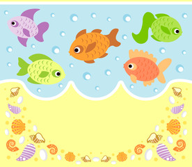 Sea animals cartoon background card with fish