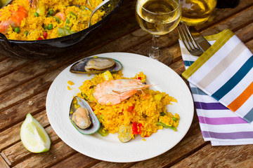 Paella served in plate