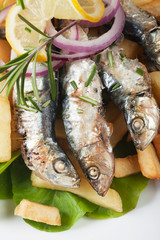 Grilled sardine fish with french fries