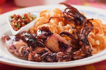 Fried squid with italian pasta