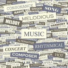 MUSIC. Word cloud concept illustration.