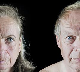 Old people face closeup