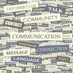 COMMUNICATION. Word cloud concept illustration.