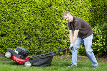 Wall Mural - Mature man getting ready to do yard work