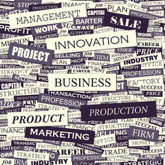 Wall Murals Newspapers BUSINESS. Word cloud concept illustration.