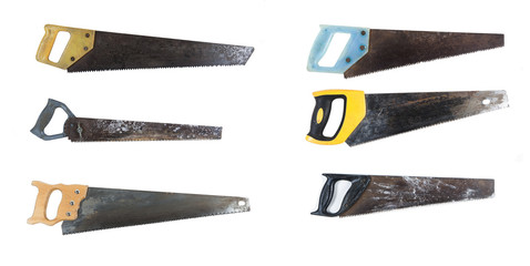 various saw with the wooden handle isolated on white background