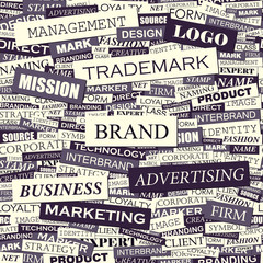 Wall Murals Newspapers BRAND. Word cloud concept illustration.