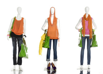 full length fashion female clothes with shoes and bag
