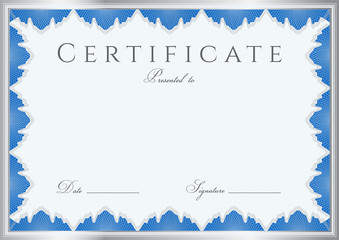 Blue Certificate / Diploma template (design sample). Guilloche