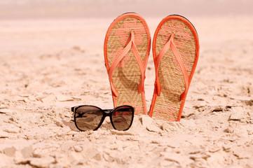 Flip-flops on a beach