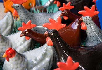 ceramic chickens.