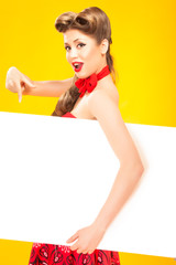 Pin-up girl in american style on yellow background