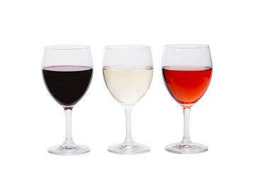 A set of three glasses of wine