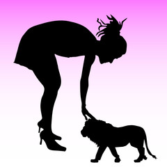 girl and the little lion vector silhouette on a pink