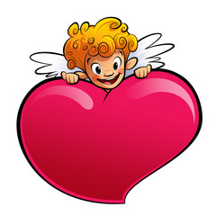 Cupid behind a huge heart