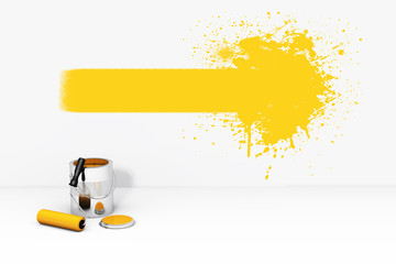 Can orange paint roller brush and splash on the wall