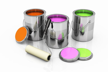 Cans with a palette of colors and a roller brush