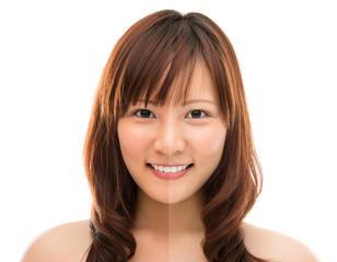 Asian woman face with half tan skin