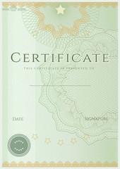 Green Certificate / Diploma template (design sample). Guilloche