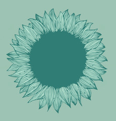 Green round flower text banner