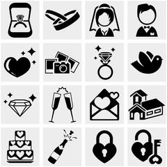 Wedding vector icon set on gray