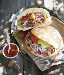 Fresh kebab on a plate