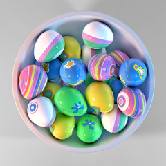 Bowl filled with easter eggs