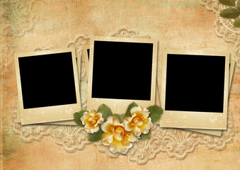 Vintage background with a polaroid-frame and a rose