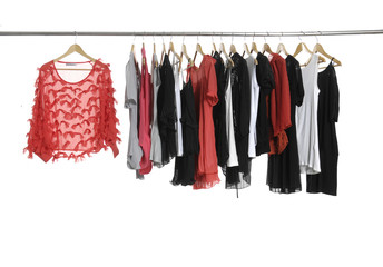 red dress and fashion female clothing hanging on hangers