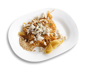 crab fried thai noodle with dumpling on white dish and isolated