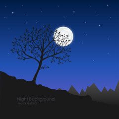 Vector illustration of natural night. Silhouette of a tree and m