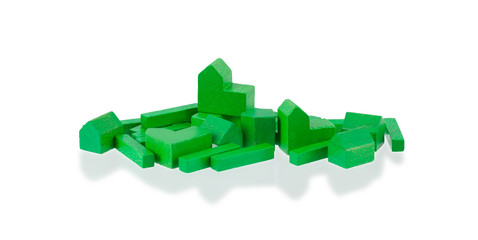 Small wooden building blocks isolated