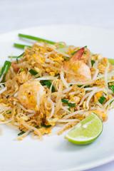 Thai food stir-fried noodles with shrimp