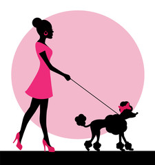 female silhouette with a dog