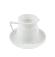 Milk pitcher white ceramic ewer isolated