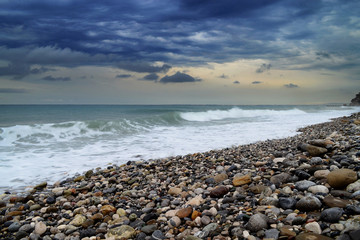 the sea and the waves, an evening landscape