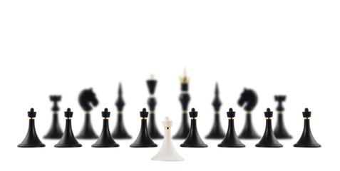 White chess pawn opposite to black ones