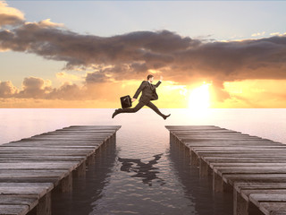 Wall Mural - man with briefcase jumping