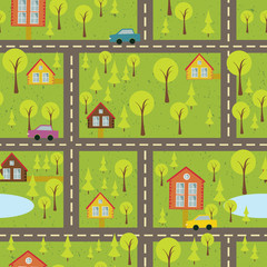 colourful seamless pattern with streets and roads 2