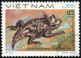 stamp printed in VIETNAM shows a Phrynosoma coronatum