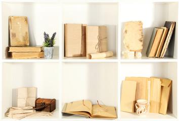 Books on white  shelves