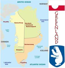 Greenland America emblem map symbol administrative divisions